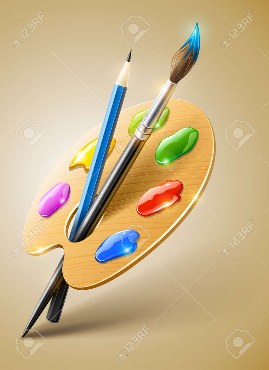 Art palette with paint brush and pencil tools for drawing Stock Vector - 12100994