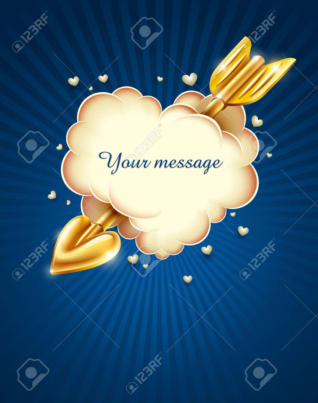 heart cloud strike by gold cupid's arrow Stock Vector - 12101001
