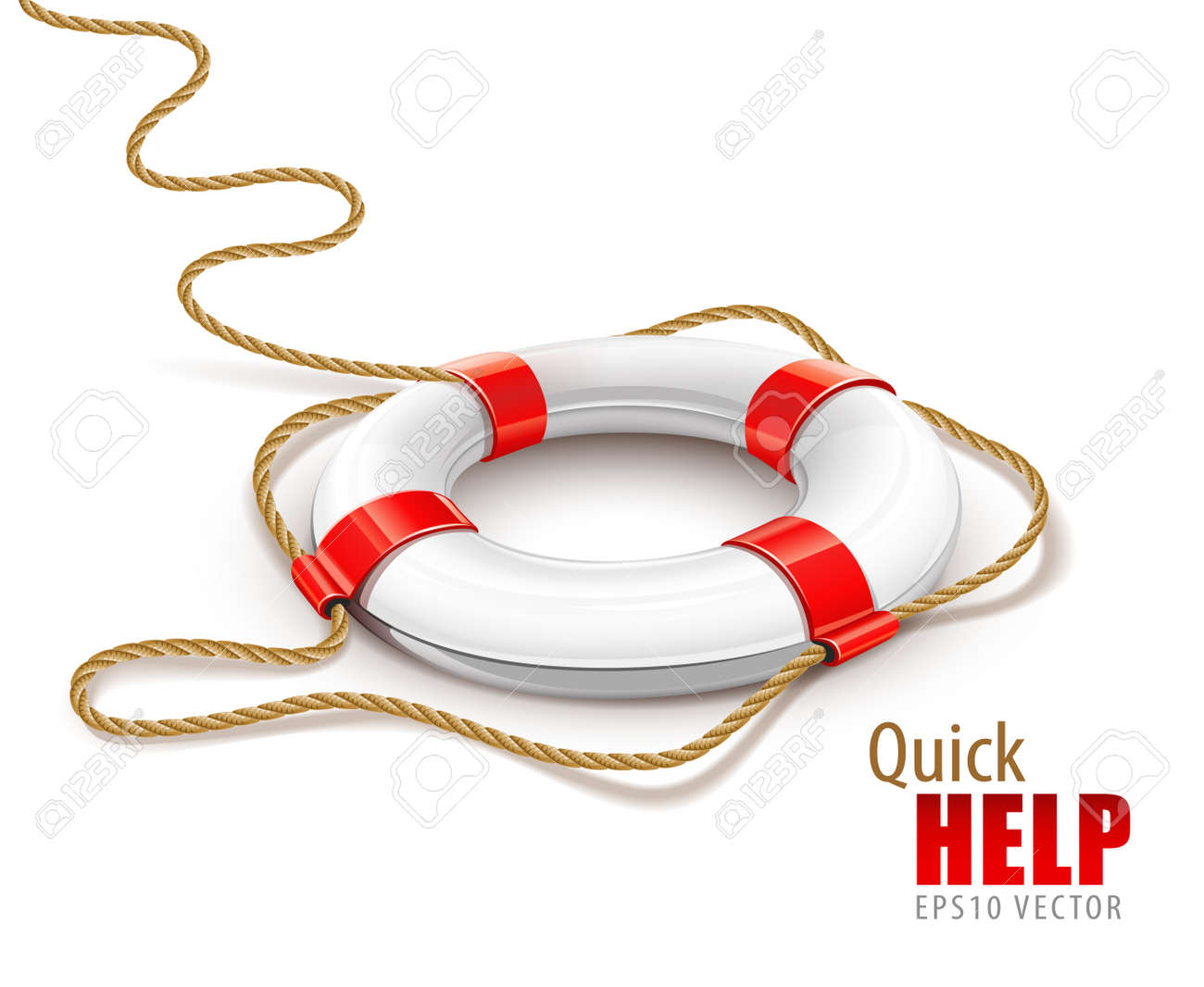 rescue ring for quick help isolated on white background. Stock Vector - 12101033