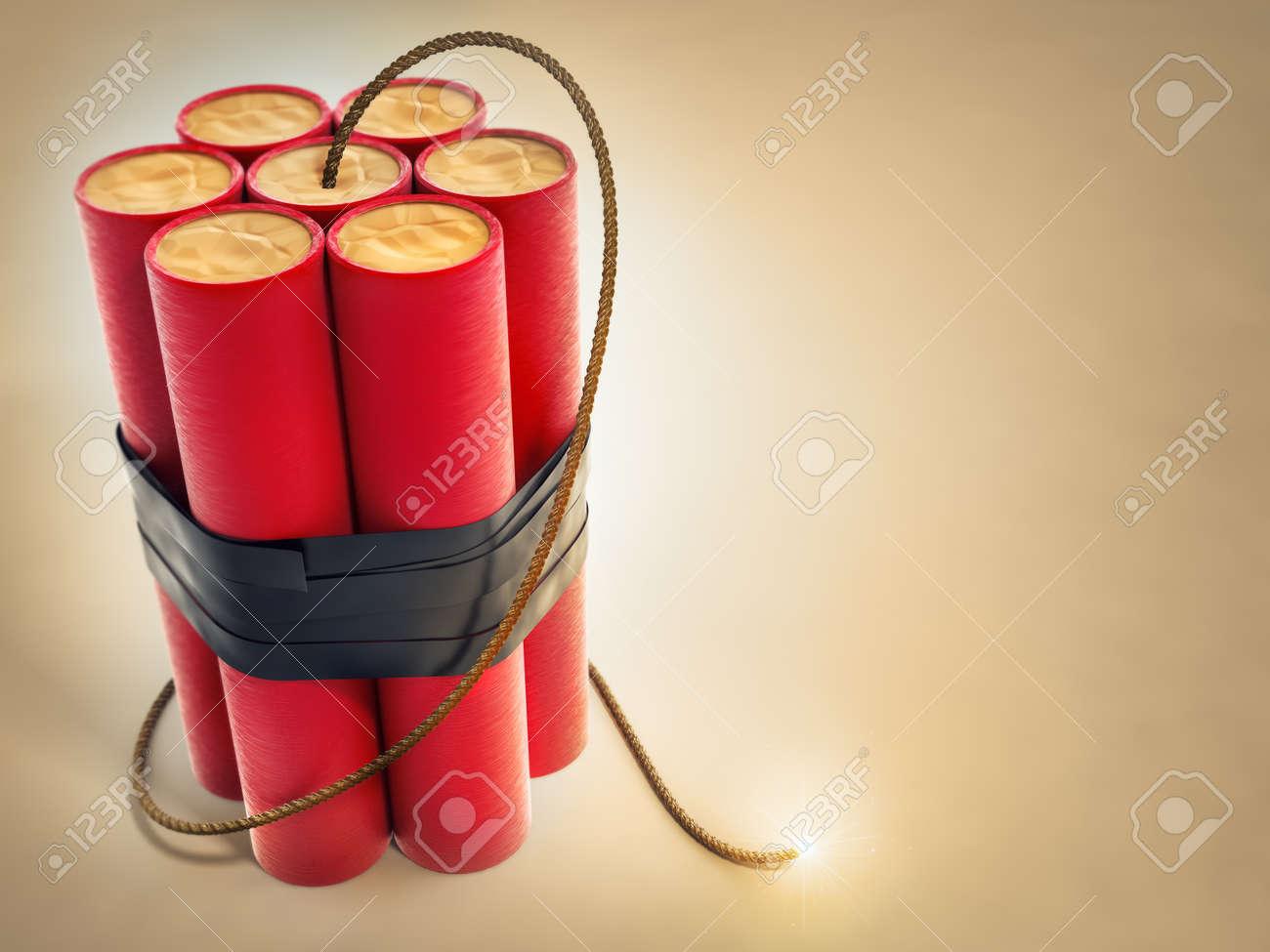 burning fuse with dynamite explosives 3d-illustration Stock Illustration - 12422366