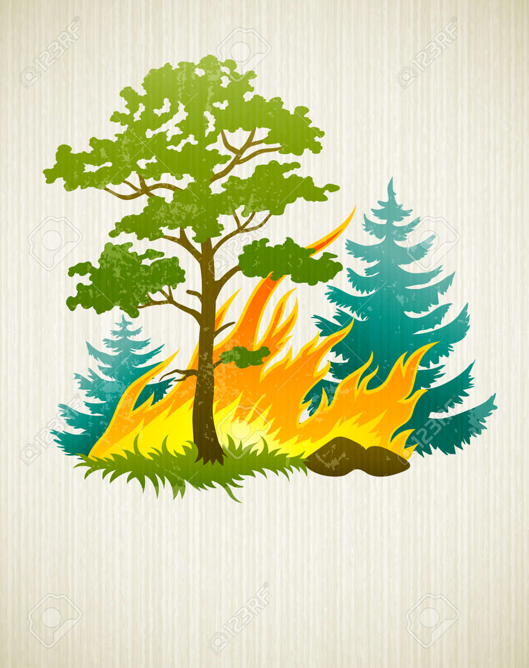 wildfire disaster with burning forest tree and fir trees. Transparent objects used for shadows and lights drawing Stock Vector - 12422413