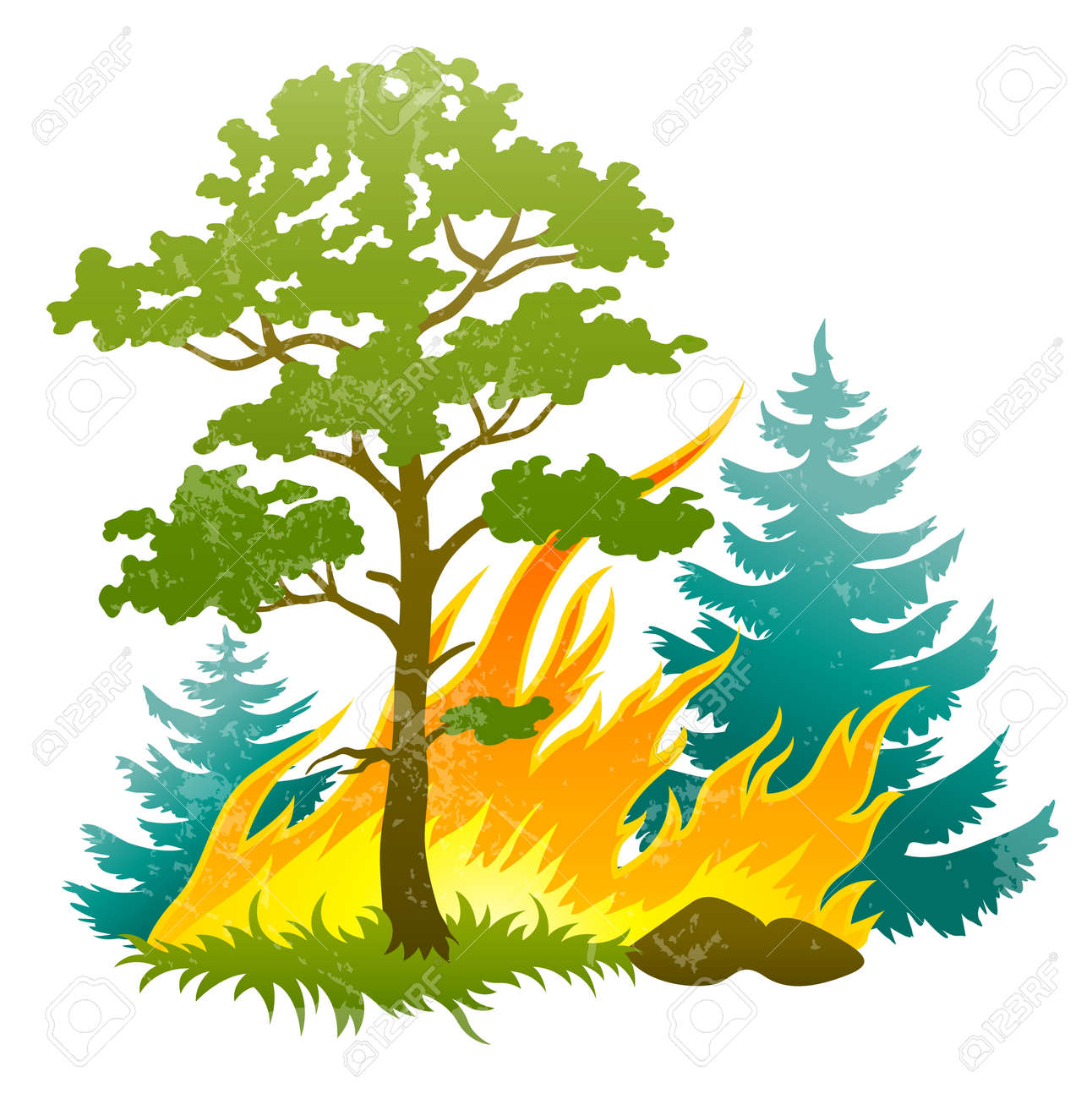 wildfire disaster with burning forest tree and fir trees. Transparent objects used for shadows and lights drawing Stock Vector - 12422392