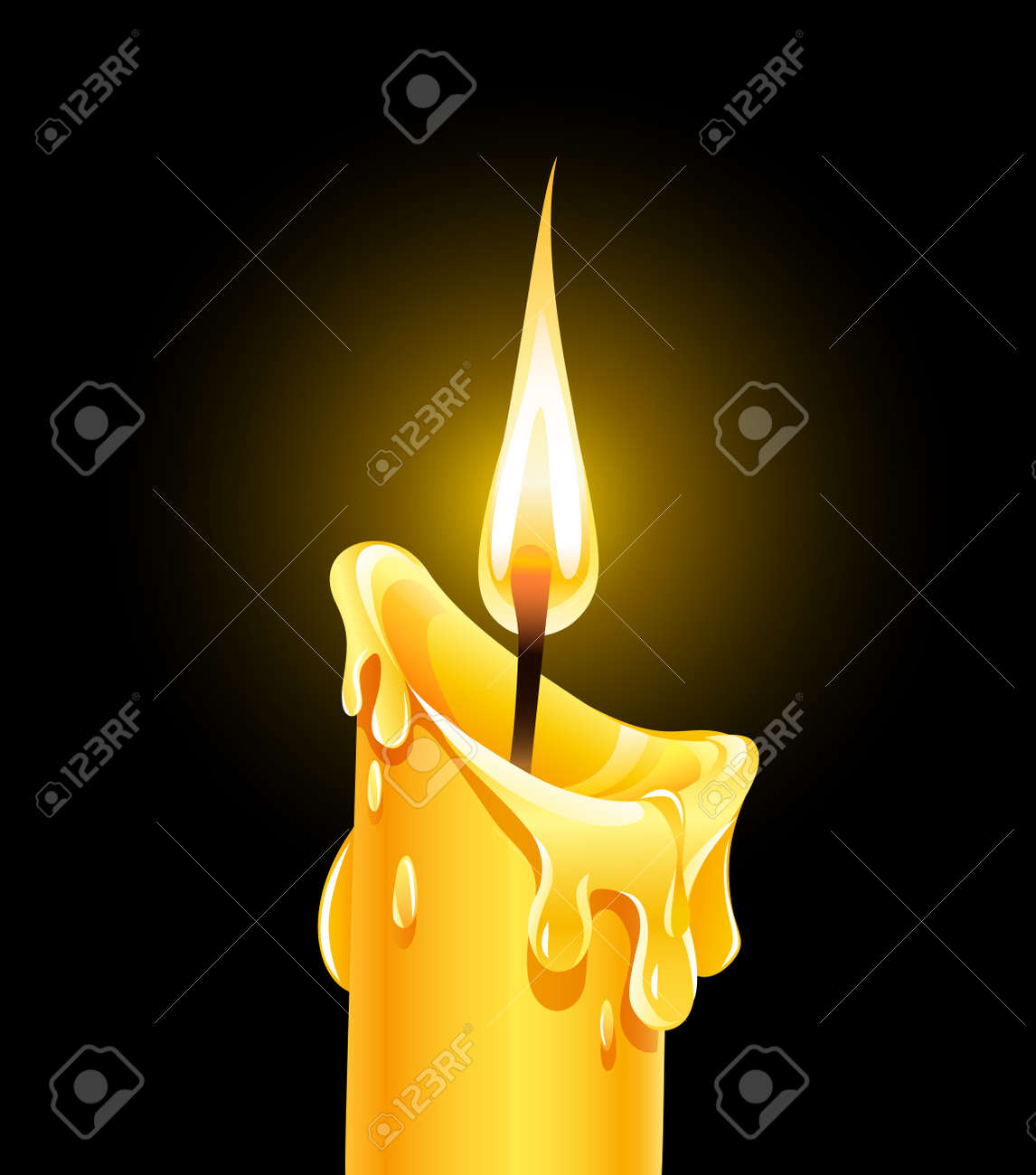Fire of burning wax candle. Stock Vector - 12422423