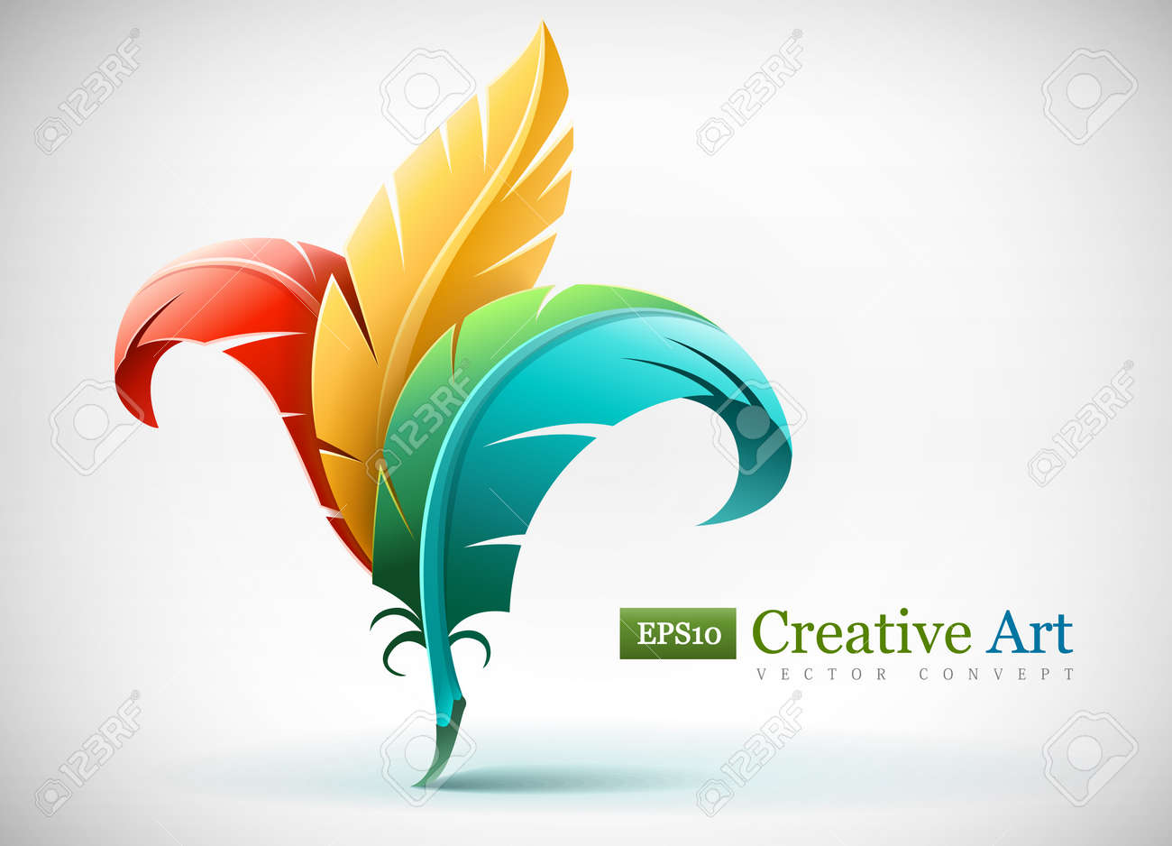 creative art concept with color red yellow and blue feathers. Vector illustration EPS10. Transparent objects used for shadows and lights drawing. Stock Vector - 12934152