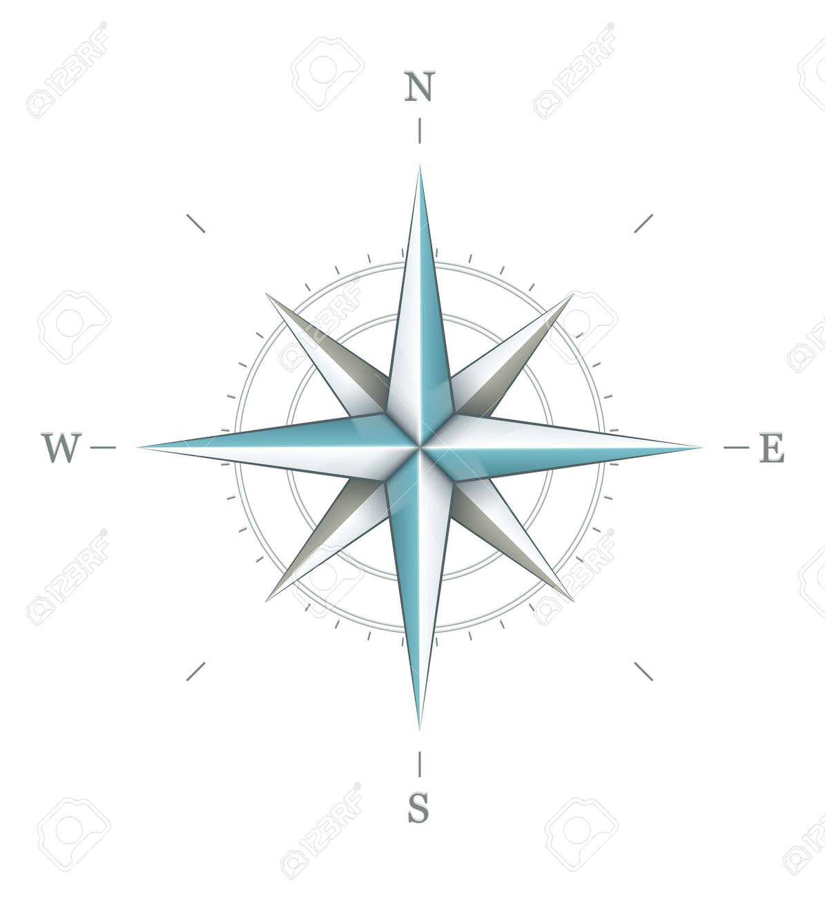 Antique wind rose symbol for navigation isolated on white background. Transparent objects used for shadows and lights drawing. Stock Vector - 12998490