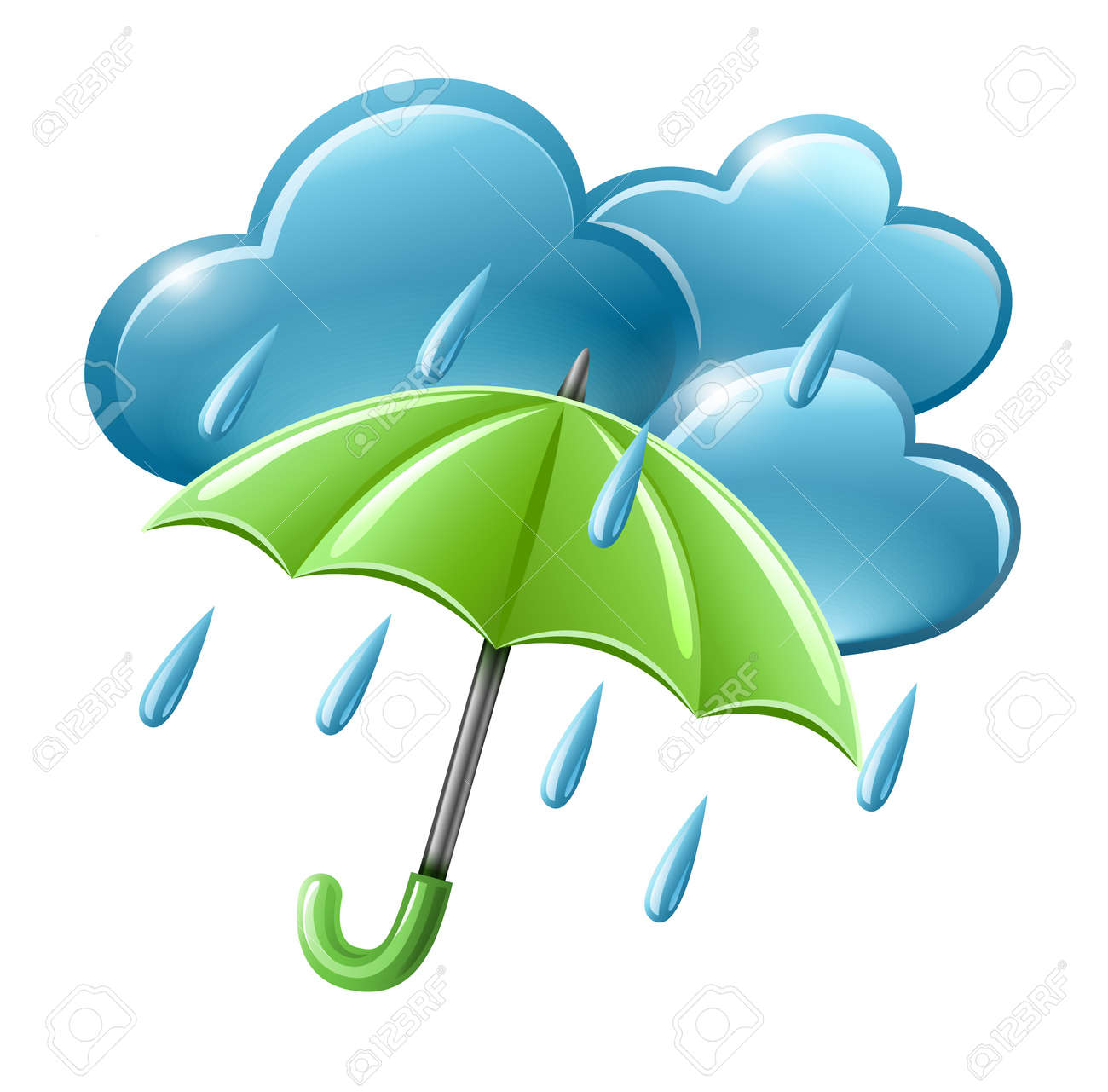 rainy weather icon with clouds and umbrella illustration isolated on white background. Transparent objects used for shadows and lights drawing. Stock Vector - 12998492
