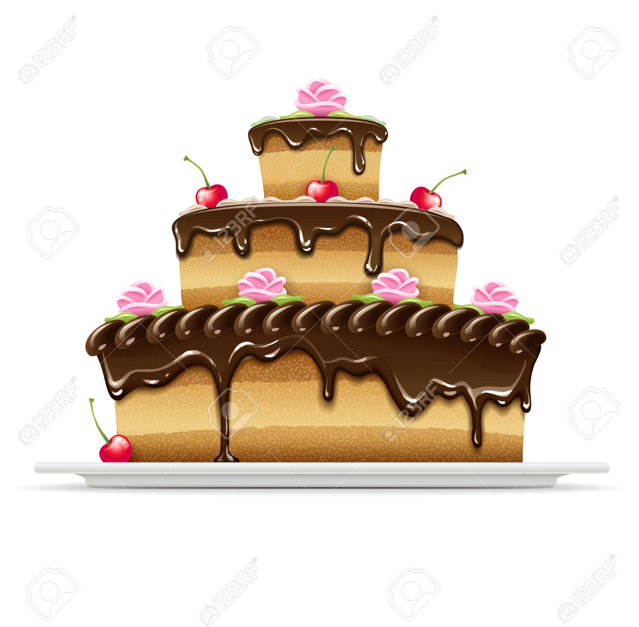 sweet chocolate cake for birthday holiday. Transparent objects used for shadows and lights drawing. Stock Vector - 12998491