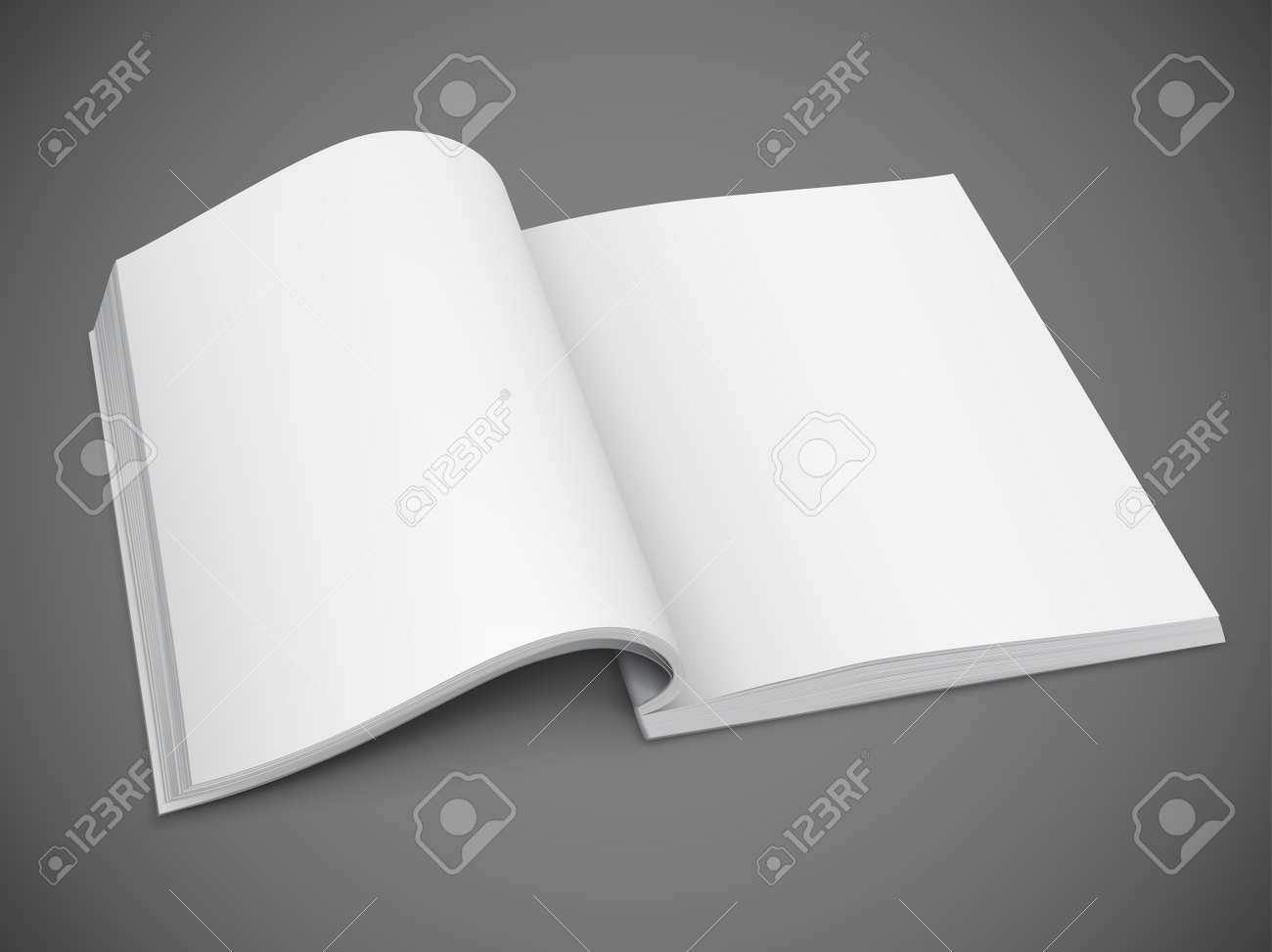 open spread of book with blank white pages vector illustration gradient mesh used EPS10. Transparent objects used for shadows and lights drawing. Stock Vector - 14601255