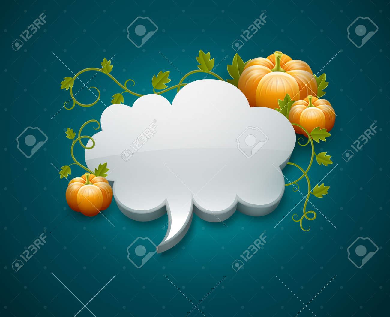 Thanksgiving day card template with pumpkins and cloud for message EPS10. Transparent objects used for shadows and lights drawing. Gradient mesh. Stock Vector - 15683586