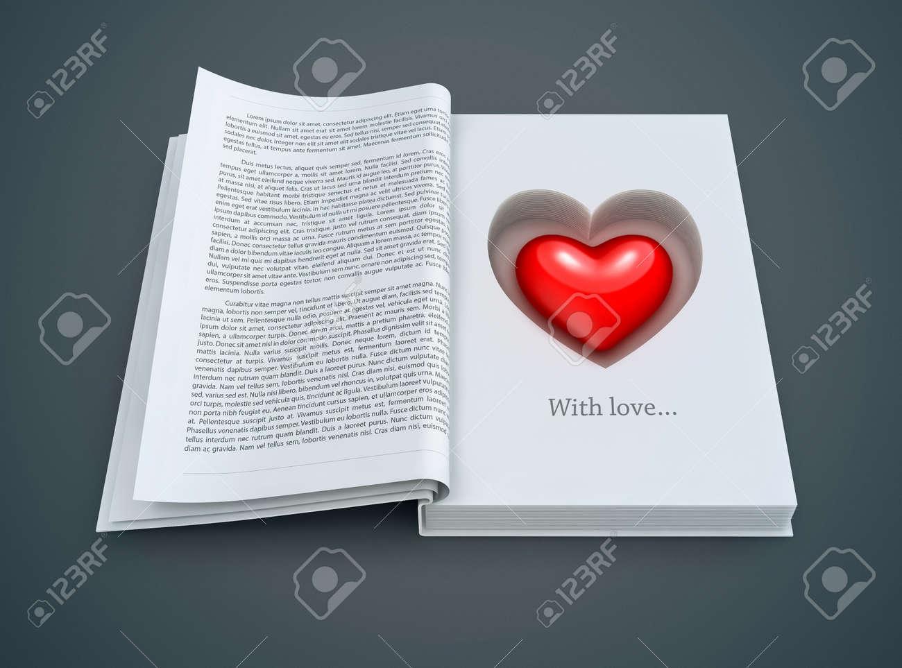 Livre Ouvert Avec L Interieur Rouge De Coeur 3d Illustration Pour Le Jour De Valentines