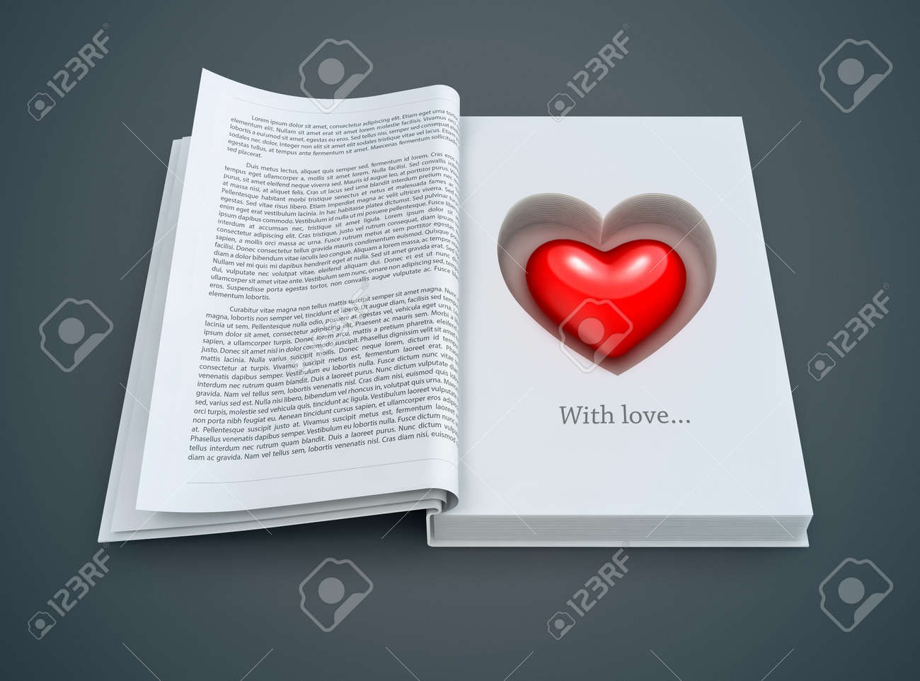 open book with red heart inside. 3d-illustration for Valentines day Stock Illustration - 16221469