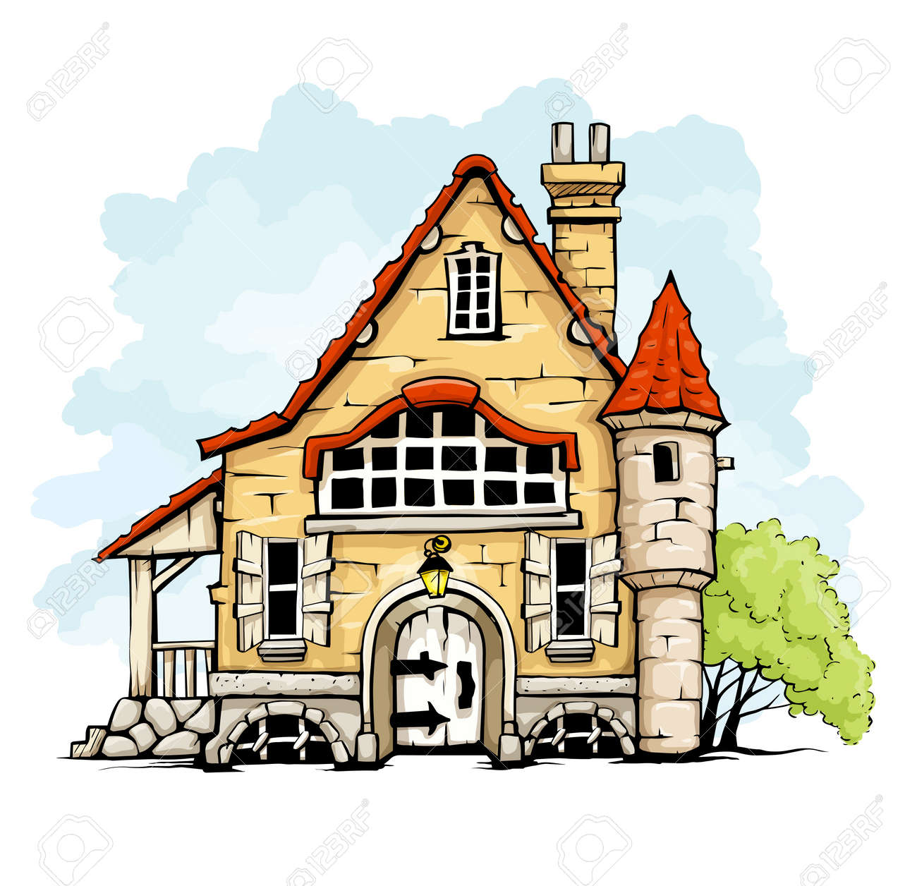 fairytale old house in retro style vector illustration isolated on white background Stock Vector - 16890148