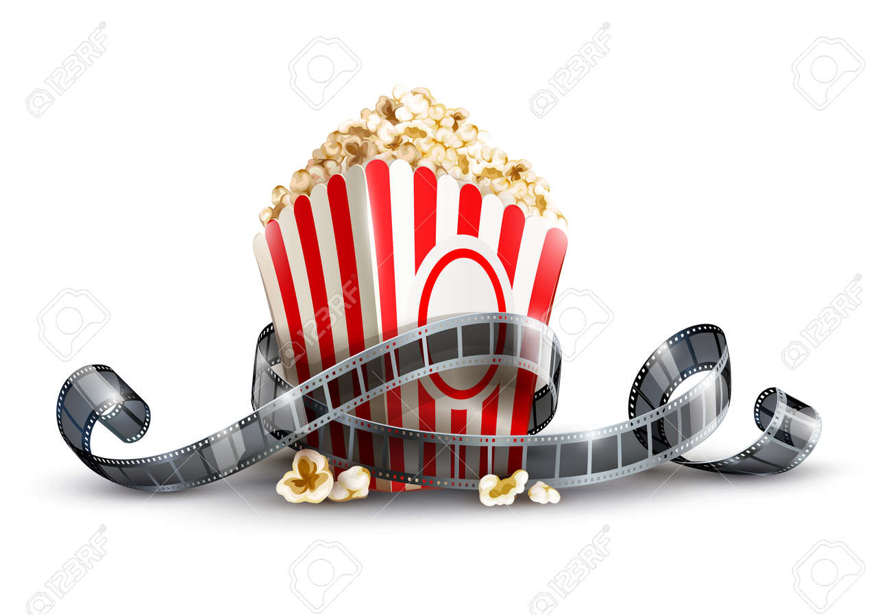 paper bag with popcorn and movie reel vector illustration isolated on white background EPS10. Transparent objects used for shadows and lights drawing. Stock Vector - 17726397