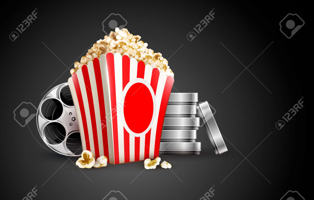 discs with film tape reel and popcorn vector illustration on the black background EPS10. Transparent objects used for shadows and lights drawing. Stock Vector - 17726399