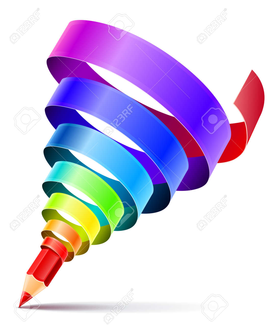creative art pencil design concept with spiral of color rainbow ribbon isolated on white background. Transparent objects used for shadow drawing Stock Vector - 18534341