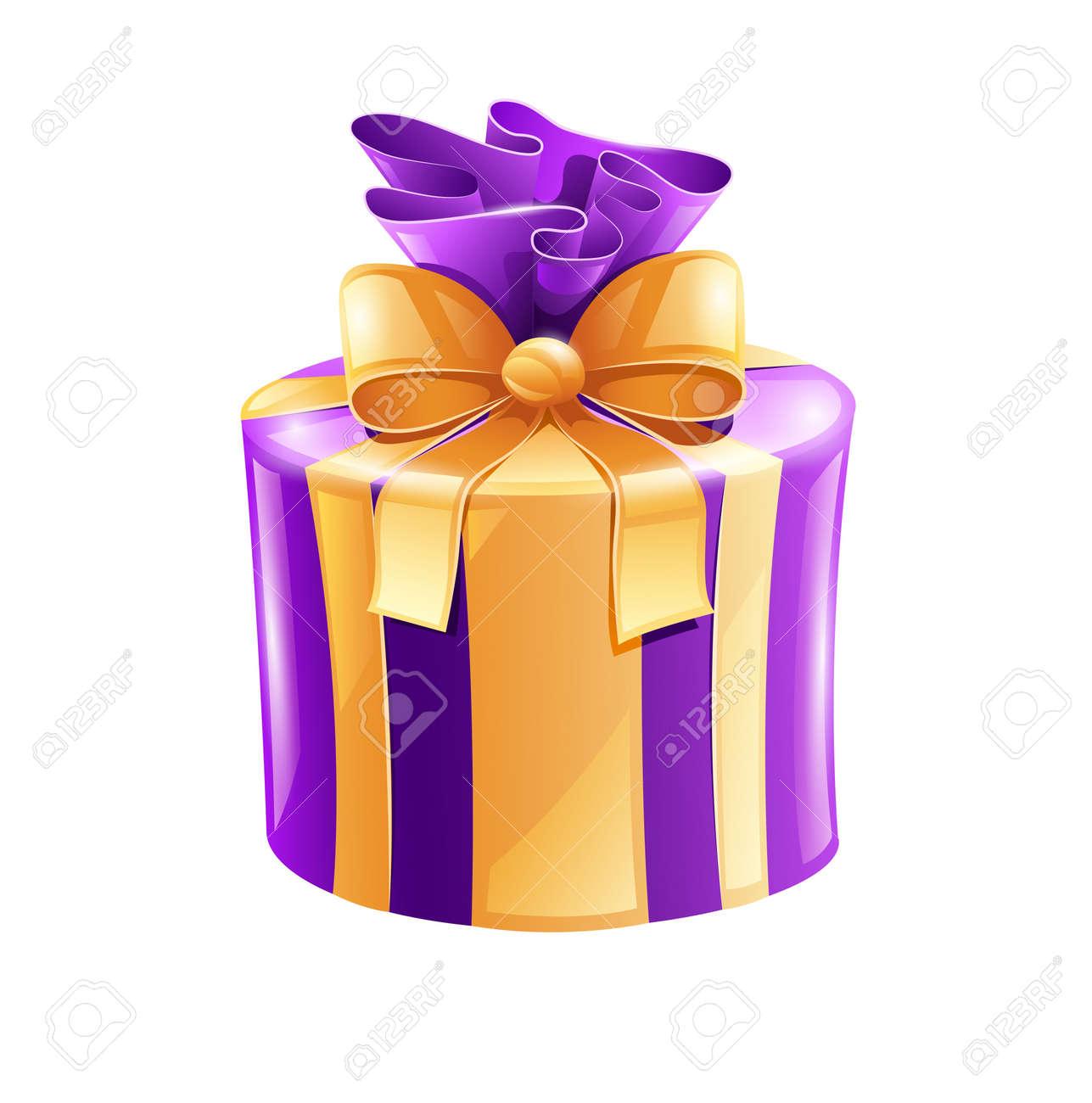 Weihnachtsgeschenk Mit Goldenen Schleife Auf Weißem Hintergrund ...