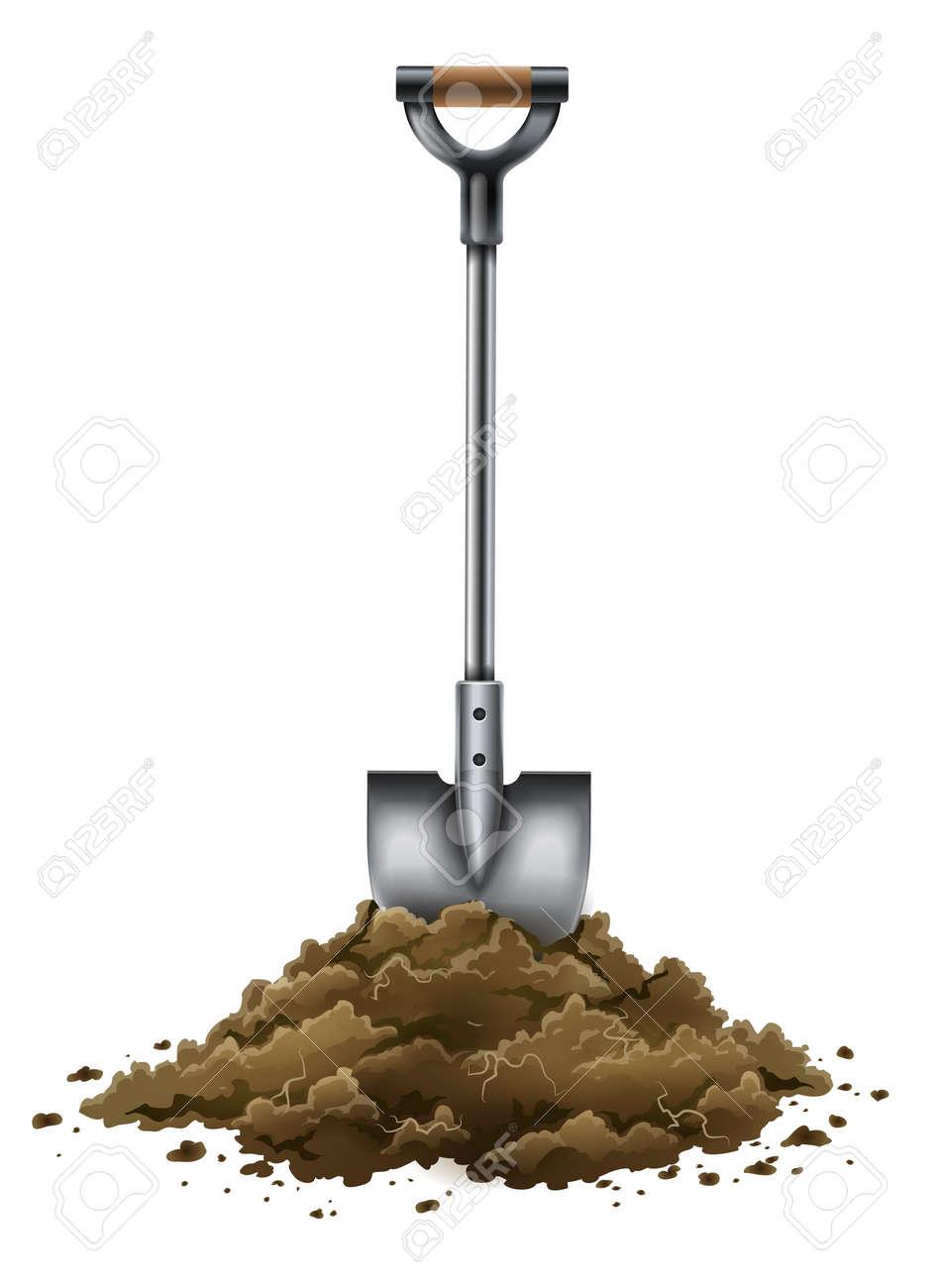 shovel tool for gardening work in ground isolated on white background - EPS10 vector illustration Stock Vector - 19324663