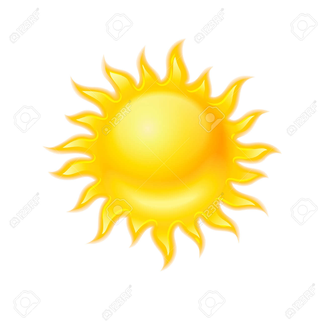 Hot yellow sun icon isolated on white background Stock Vector - 20059666