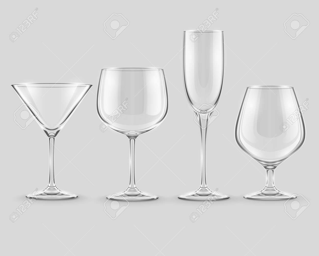 set of transparent glass goblets Stock Vector - 20059664