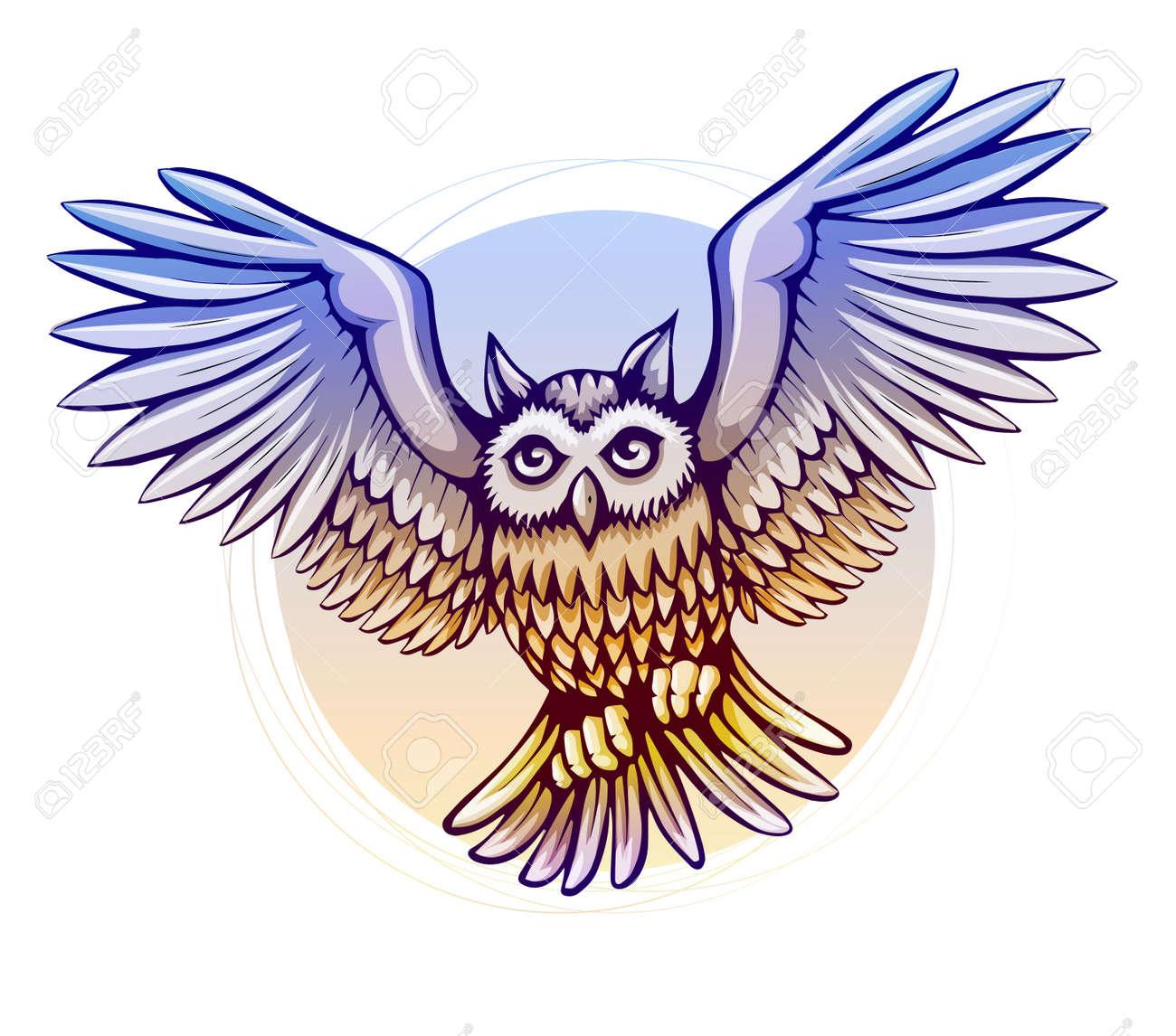 Pájaro De Vuelo Del Búho De Dibujos Animados Con Alas De Color