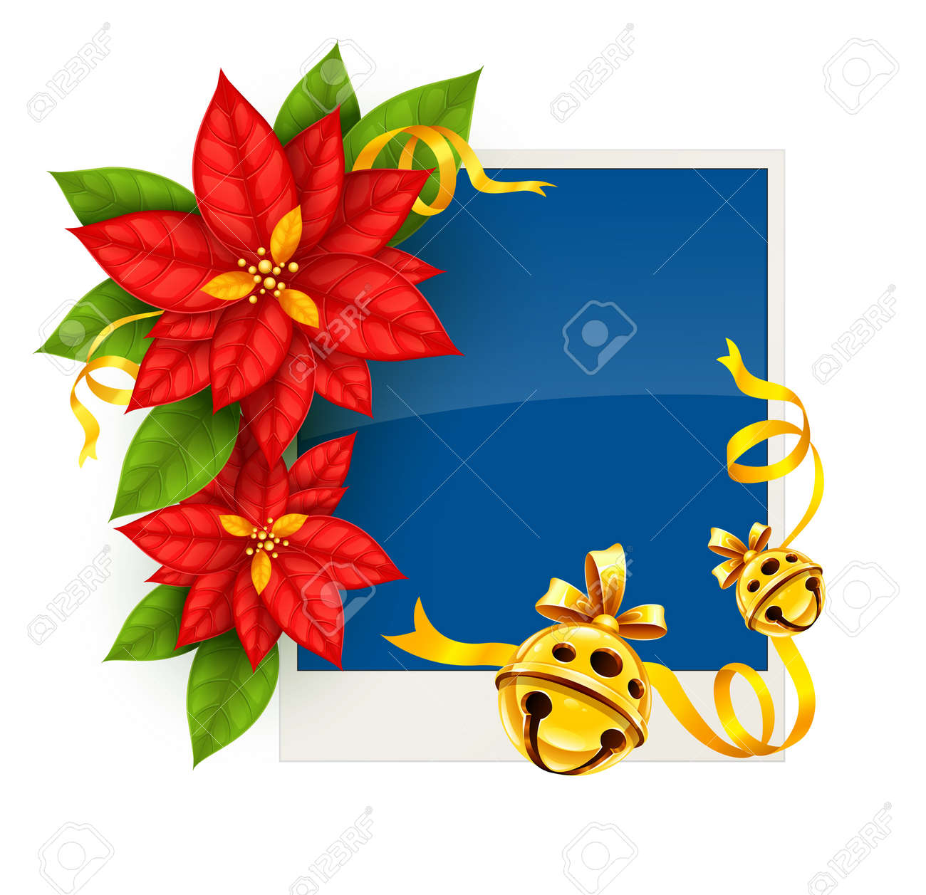 Christmas Greeting Card With Traditional Red Poinsettia Flowers