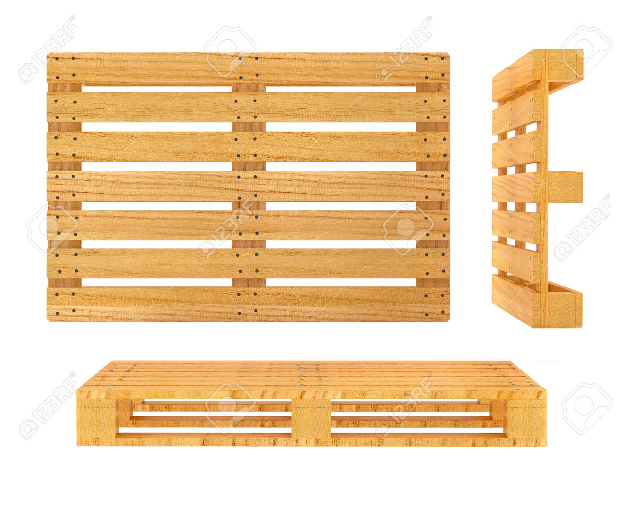 Wooden pallet. 3d rendered illustration. Isolated on white background. Clipping path included Stock Illustration - 27564419