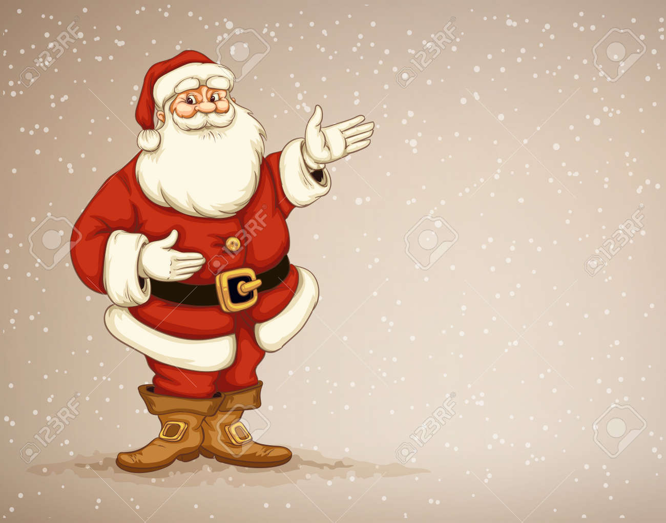 Santa �laus showing in empty place for advertising. Eps10 vector illustration Stock Vector - 33980864