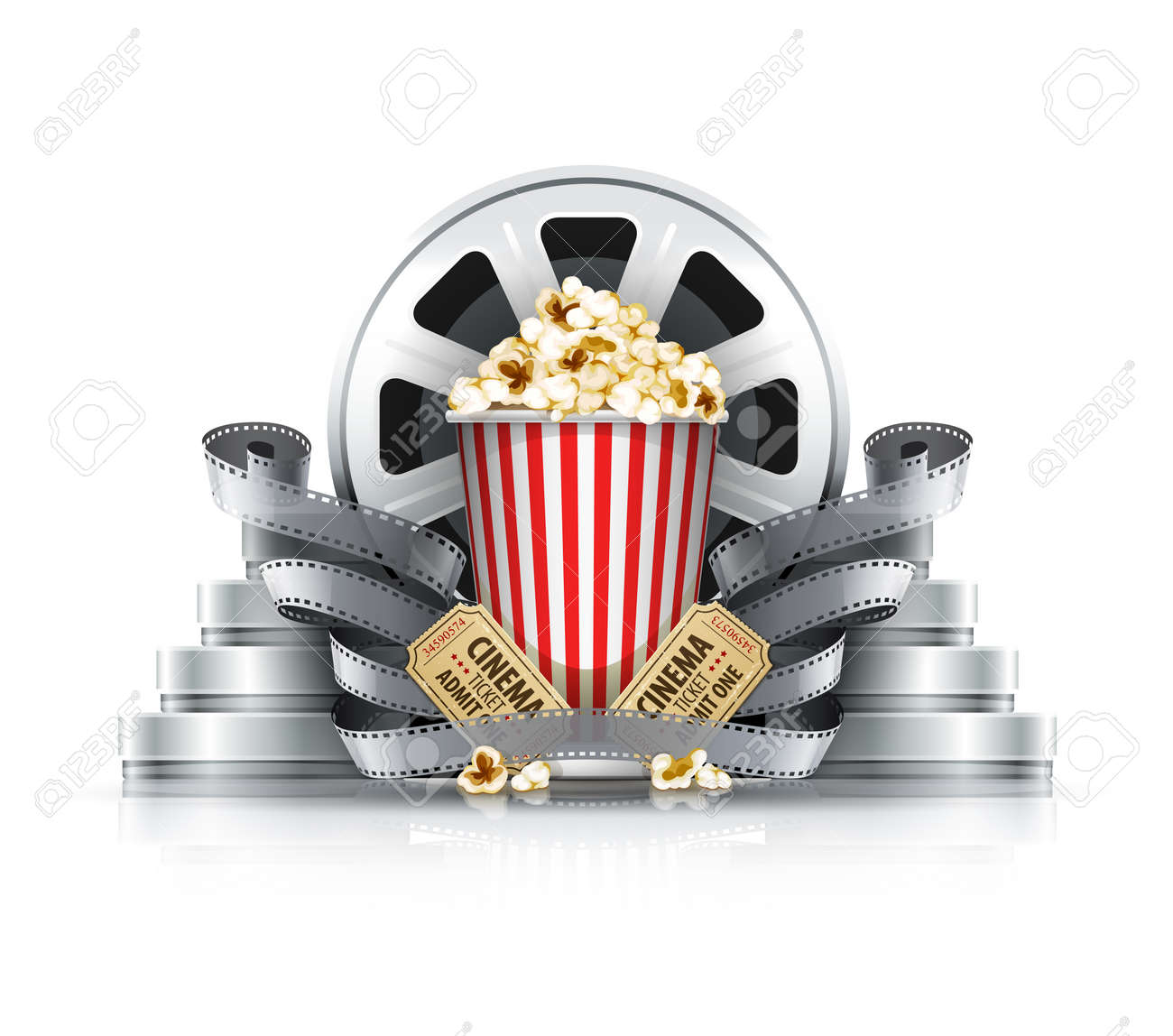 Popcorn film-strips and disks with cinema tickets to movie theater. Eps10 vector illustration. Isolated on white background Stock Vector - 34237680