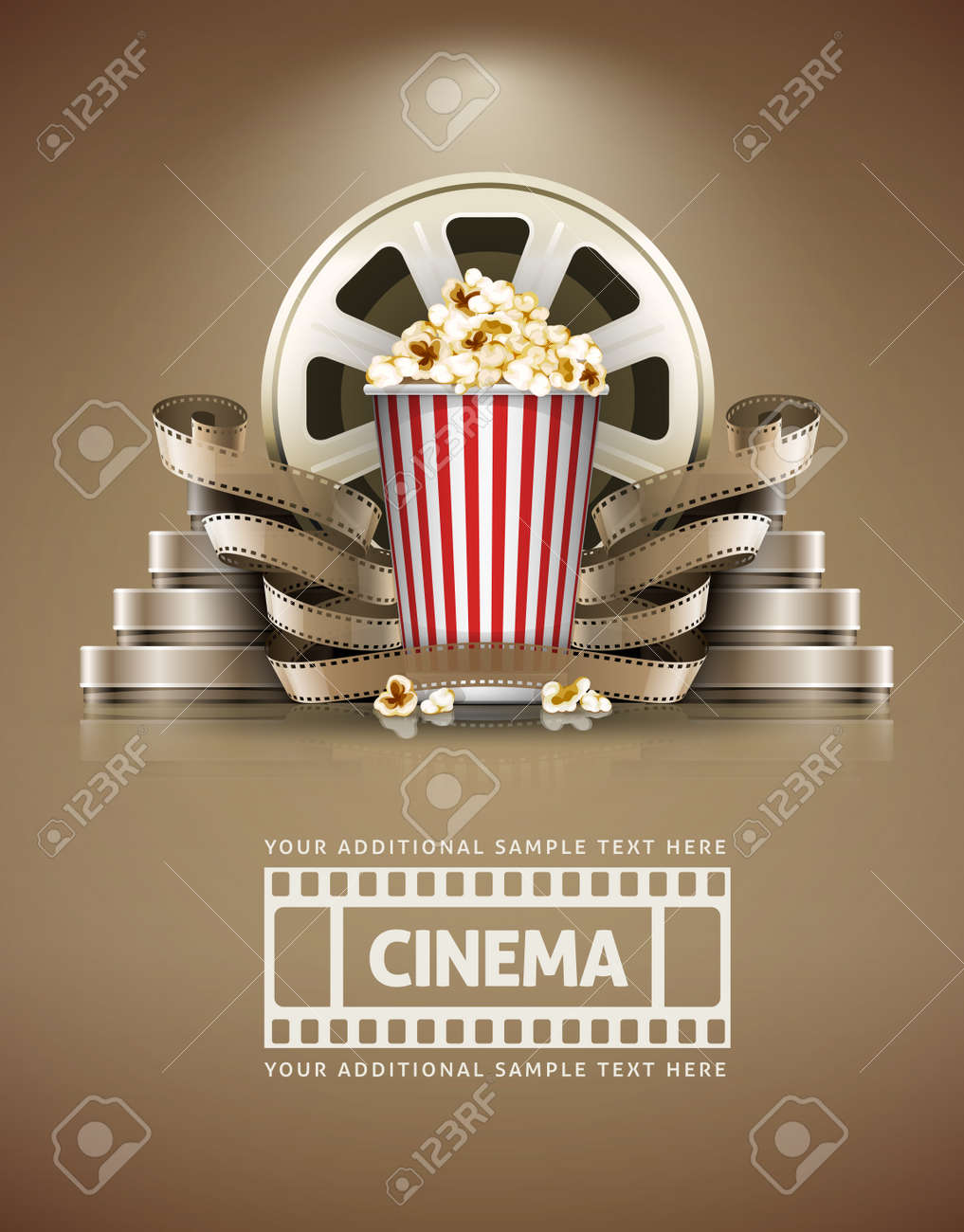 Cinema concept with popcorn and cinefilmss retro style. Stock Vector - 34492604