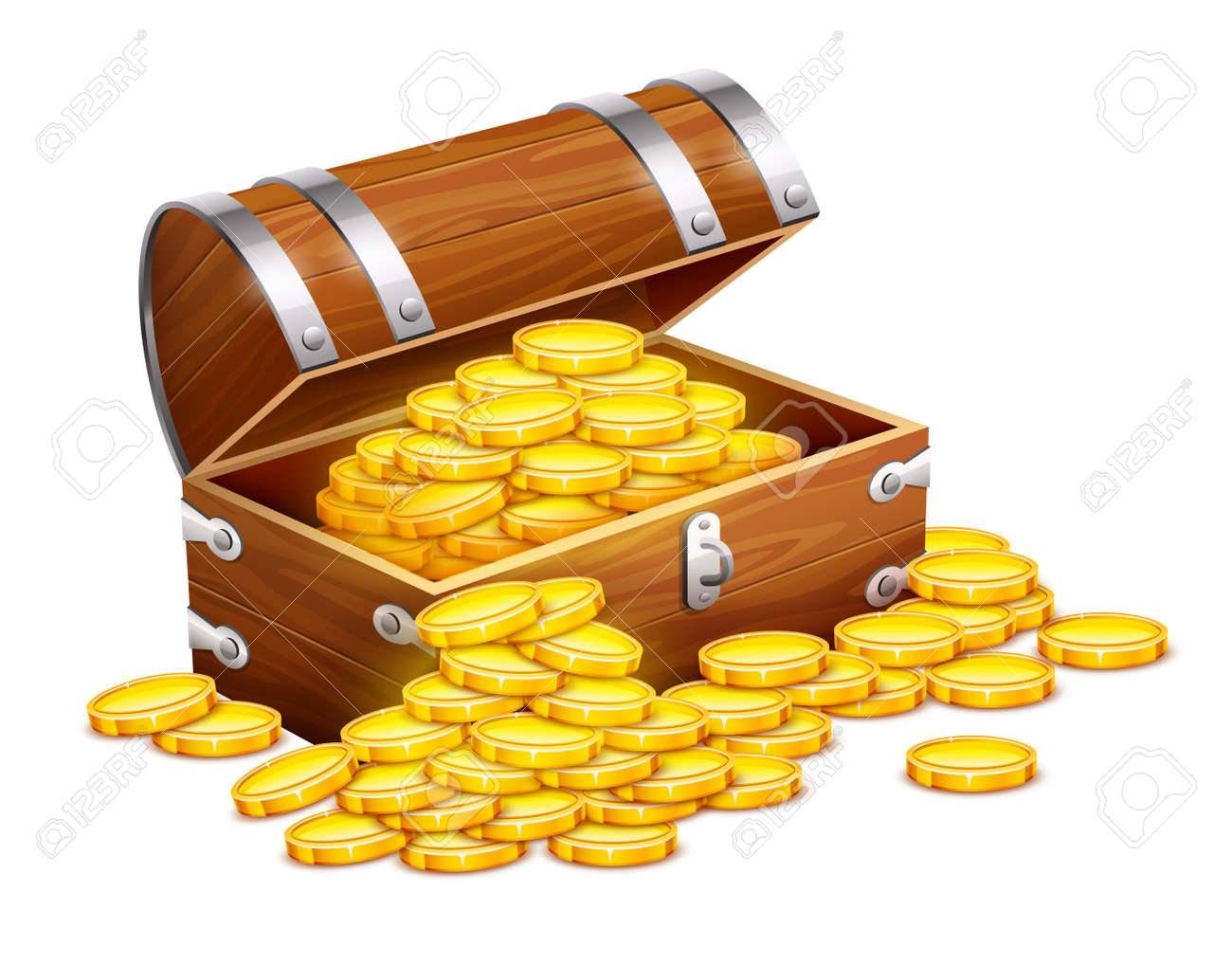 Pirates trunk chest full of gold coins treasures. Eps10 vector illustration. Isolated on white background Stock Vector - 34766869