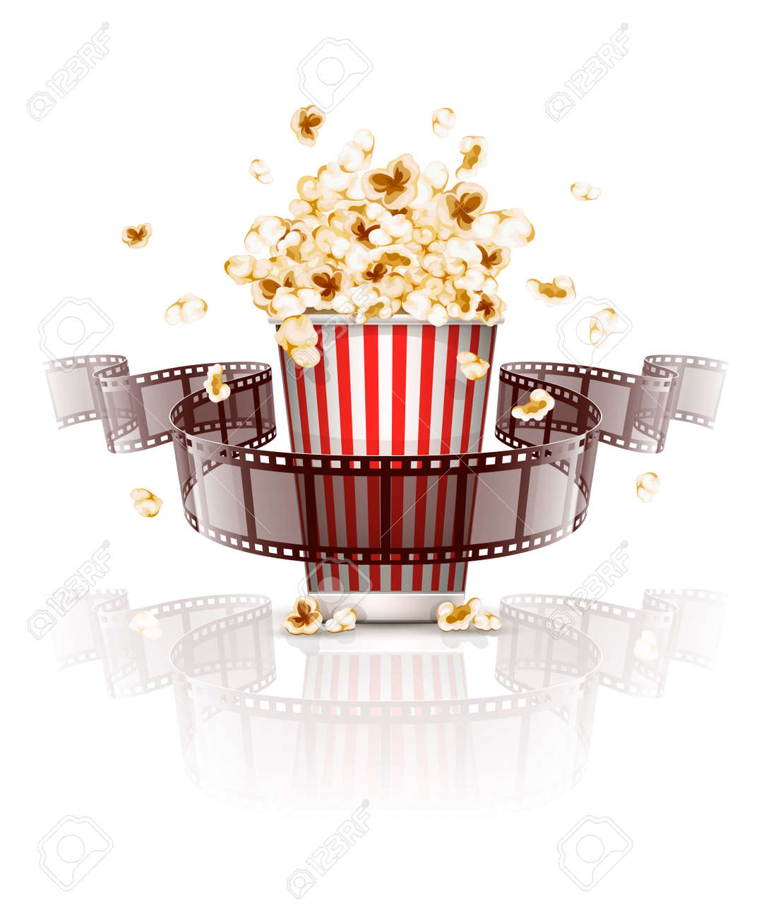 Jumping popcorn and film-strip film. vector illustration. Isolated on white background Stock Vector - 37386548