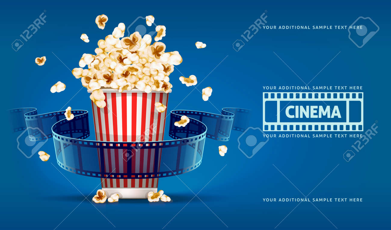 Popcorn for movie theater and cinema reel on blue background. Eps10 vector illustration Stock Vector - 37436464