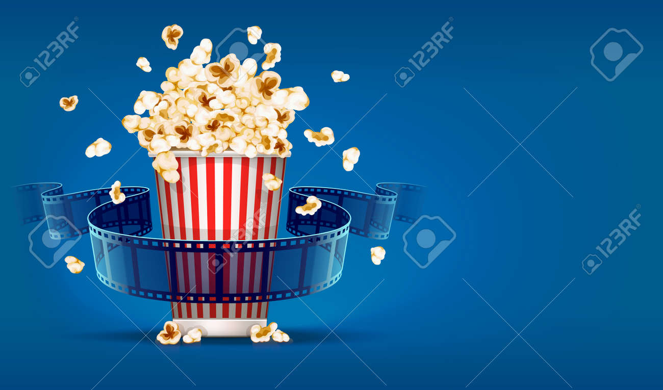 Popcorn for cinema and movie film tape on blue background. Stock Vector - 37760452