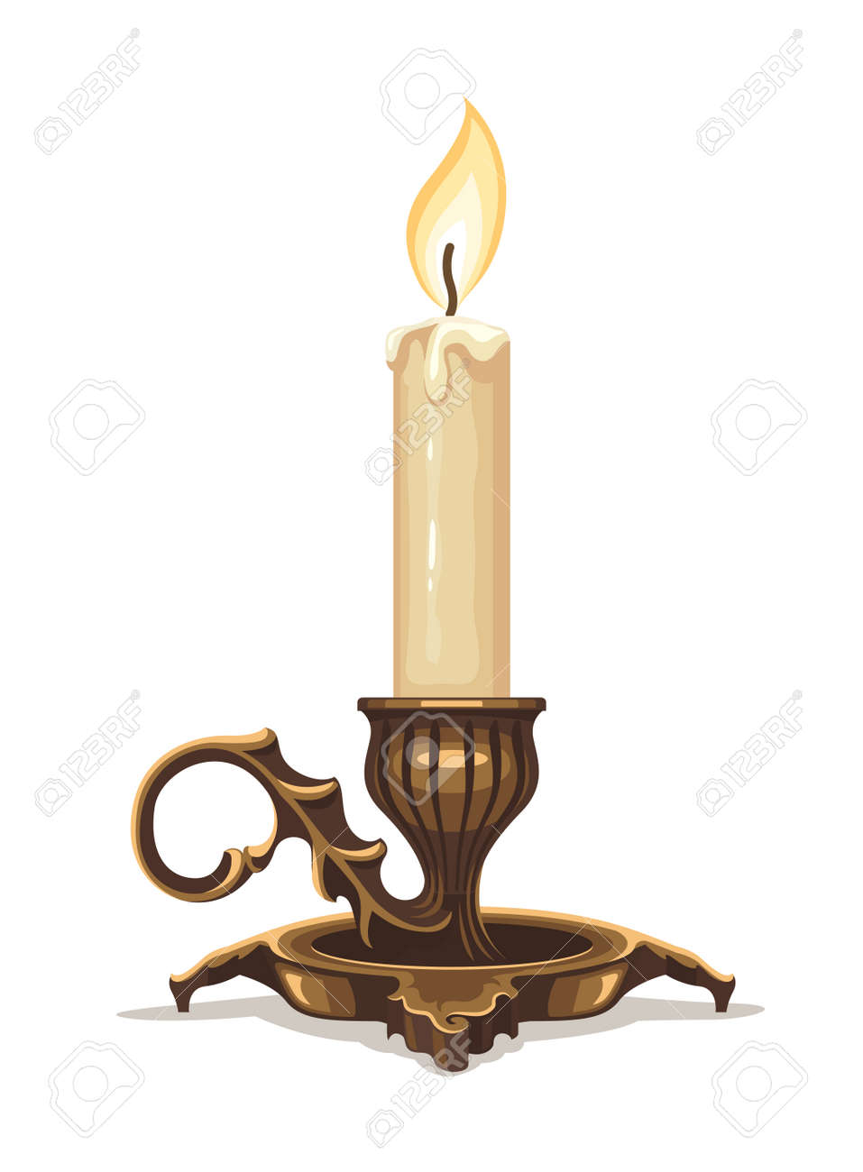Burning candle in bronze candlestick. Stock Vector - 38745798