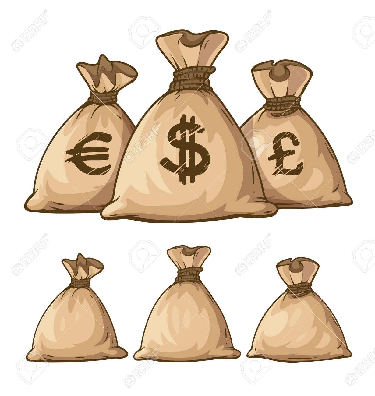 Cartoon full sacks with money. Eps10 vector illustration. Isolated on white background Stock Vector - 41114041