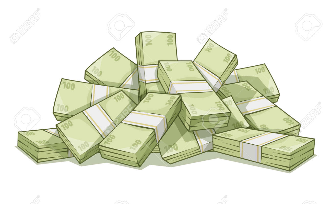 Hill of bundles with money. Stock Vector - 41314031