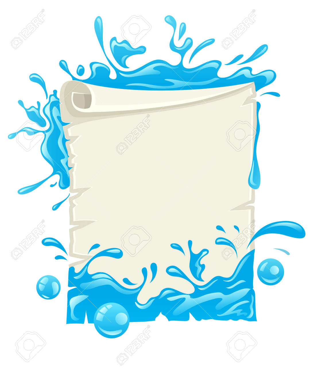 Poster design eps - Paper Script Poster Design Blank Template With Water Splashes Eps10 Vector Illustration Isolated On