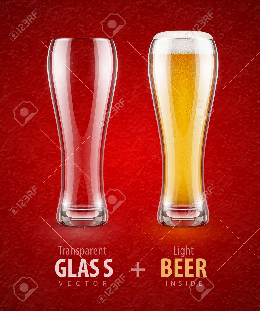 Bier In Der Glas-und Leere Transparente Becher Für Getränke. Eps10 ...