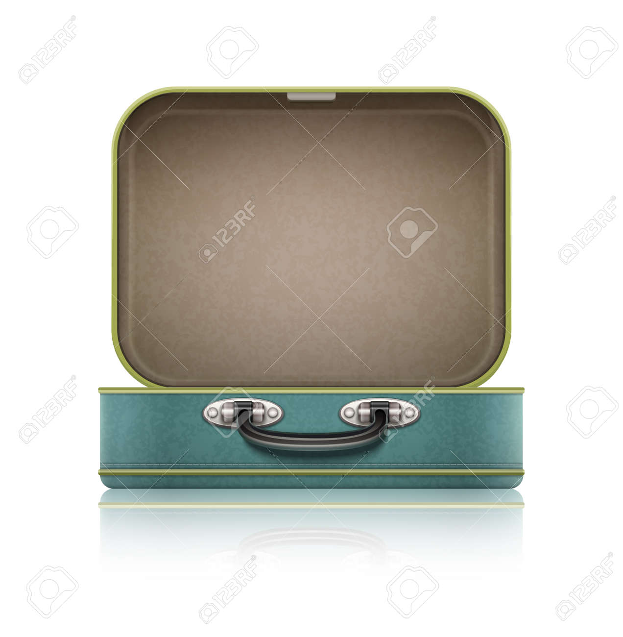 Open old retro vintage suitcase for travel. - 42649474