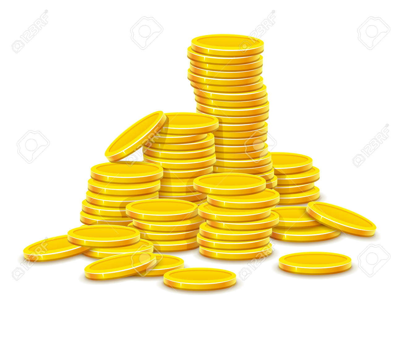 Gold coins cash money in rouleau. Isolated on white background Stock Vector - 43151267