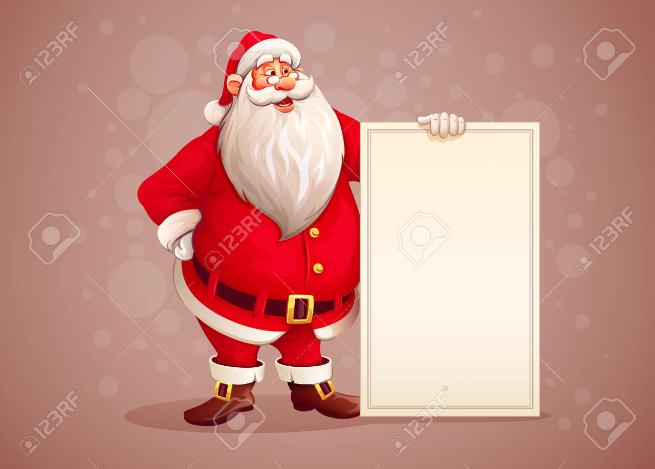 Merry Santa Claus standing with christmas greetings banner in arm. vector illustration Stock Vector - 45932901