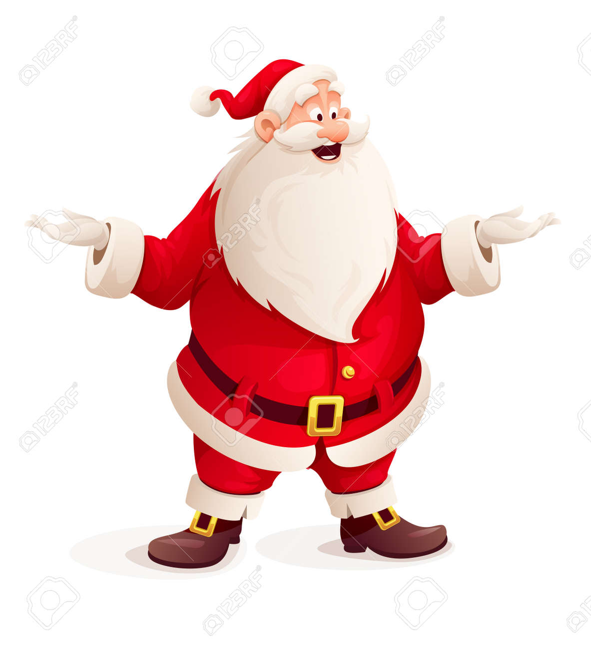 Santa claus throw up hands. Eps10 vector illustration. Isolated on white background Stock Vector - 46598121