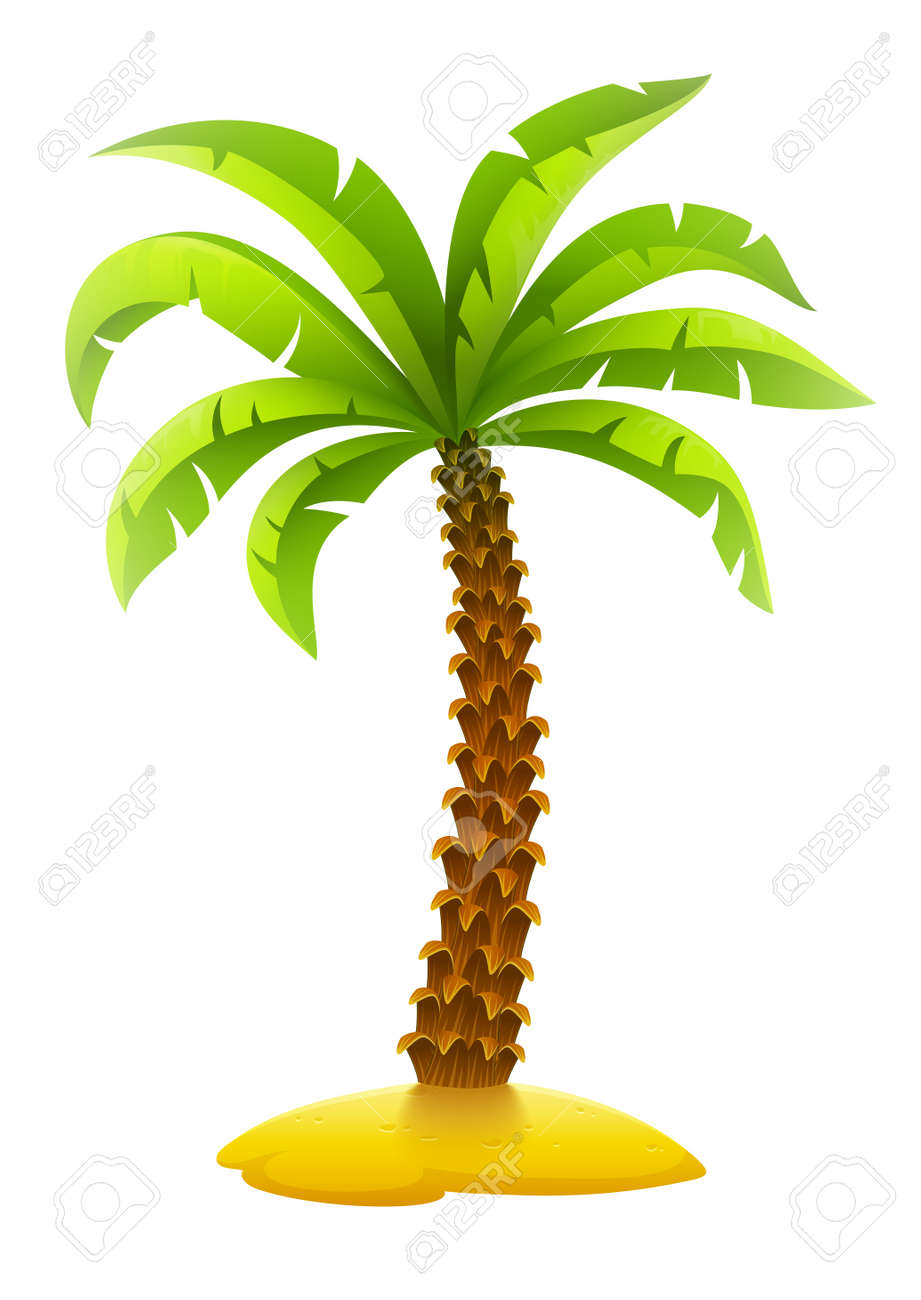 Coconut palm tree on sand island. Eps10 vector illustration. Isolated on white background Stock Vector - 47531931