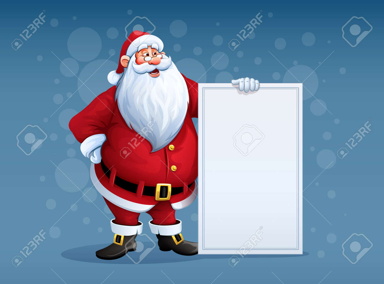 Merry Santa Claus standing with christmas greetings banner in arm. Eps10 vector illustration Stock Vector - 48059055