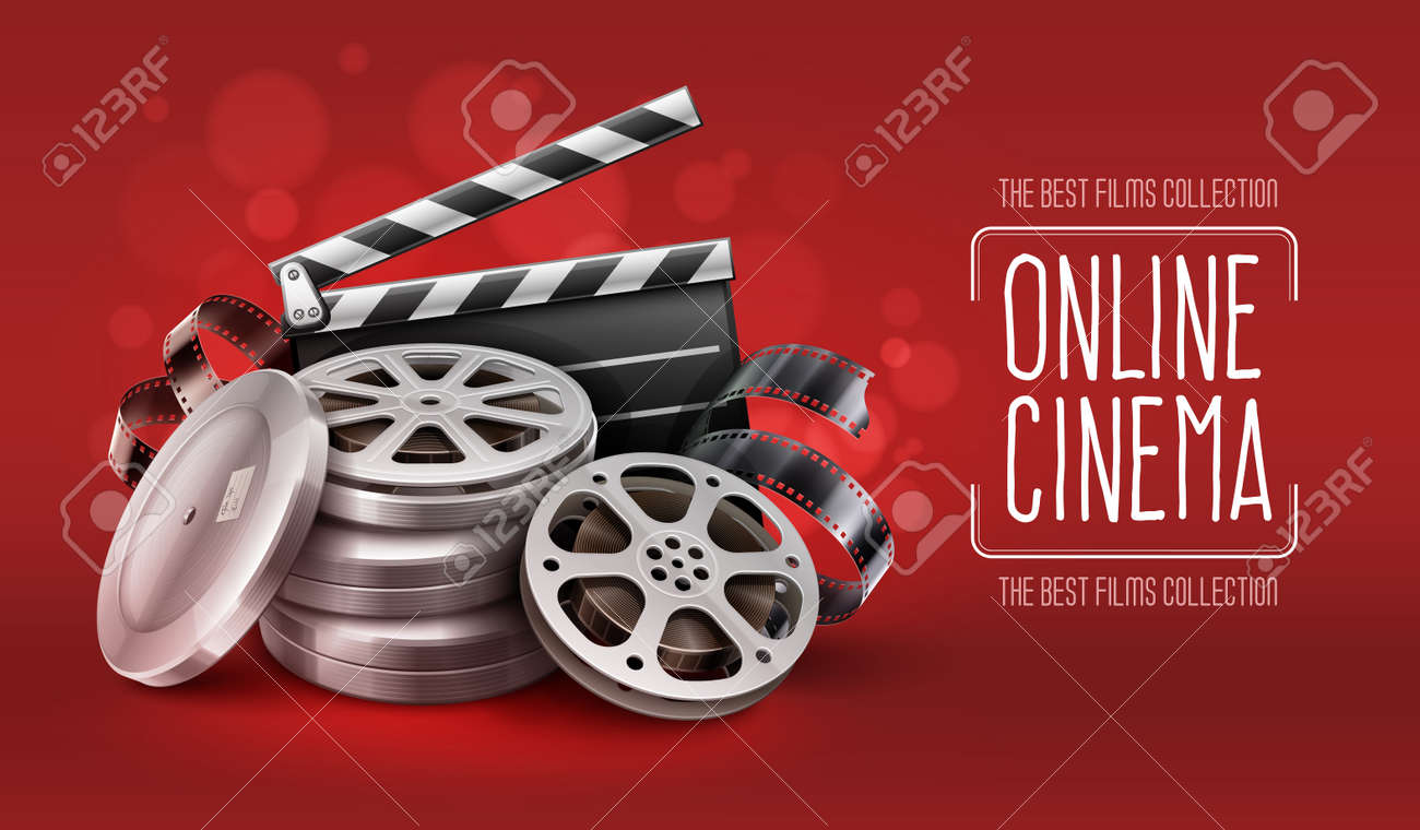 Online cinema with film movie tape disks in boxes and directors clapper for filmmaking - 49597624