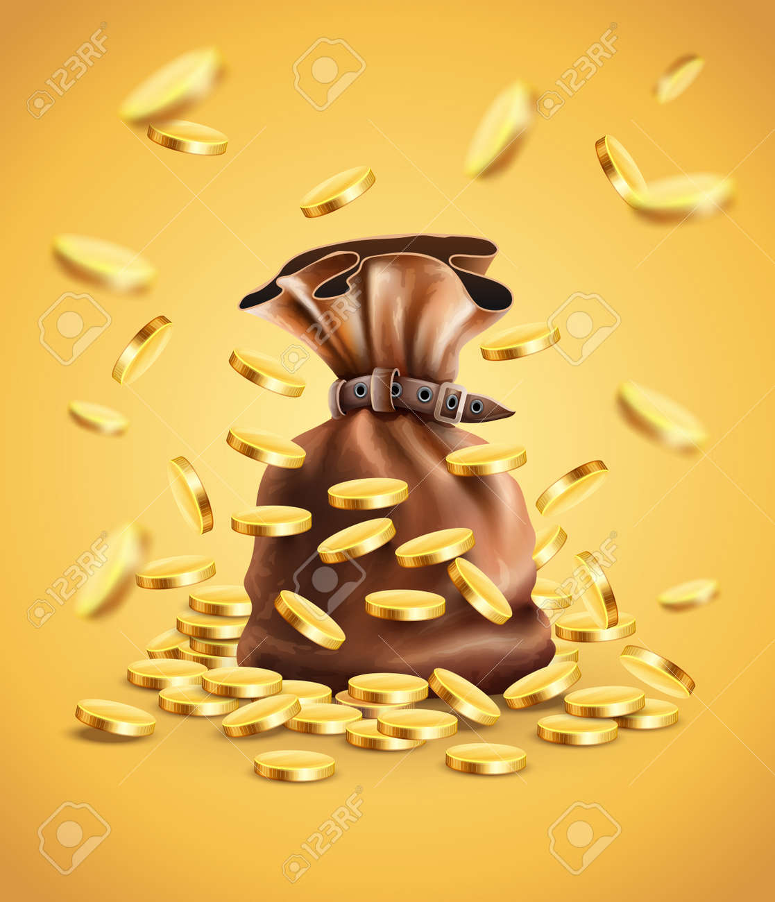 Gold coins falling down and full sack, gradient mesh used Stock Vector - 54014739