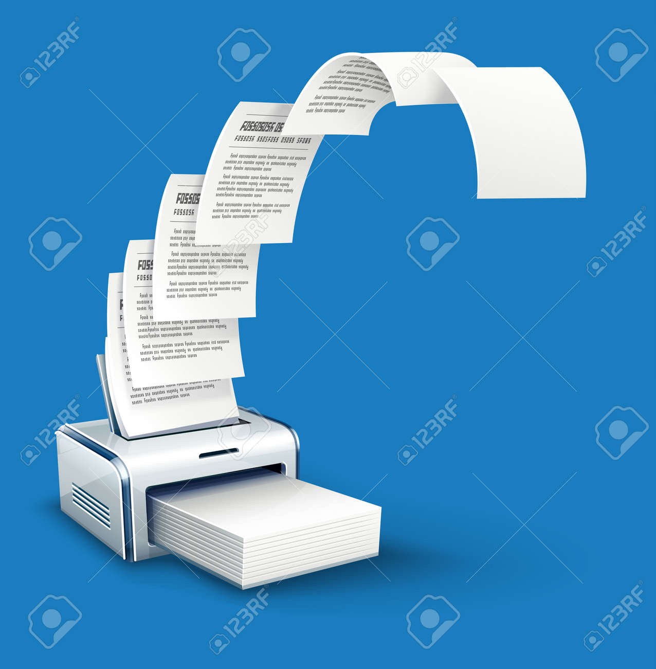Printer printing copies of text to paper with copyspace - 54795604
