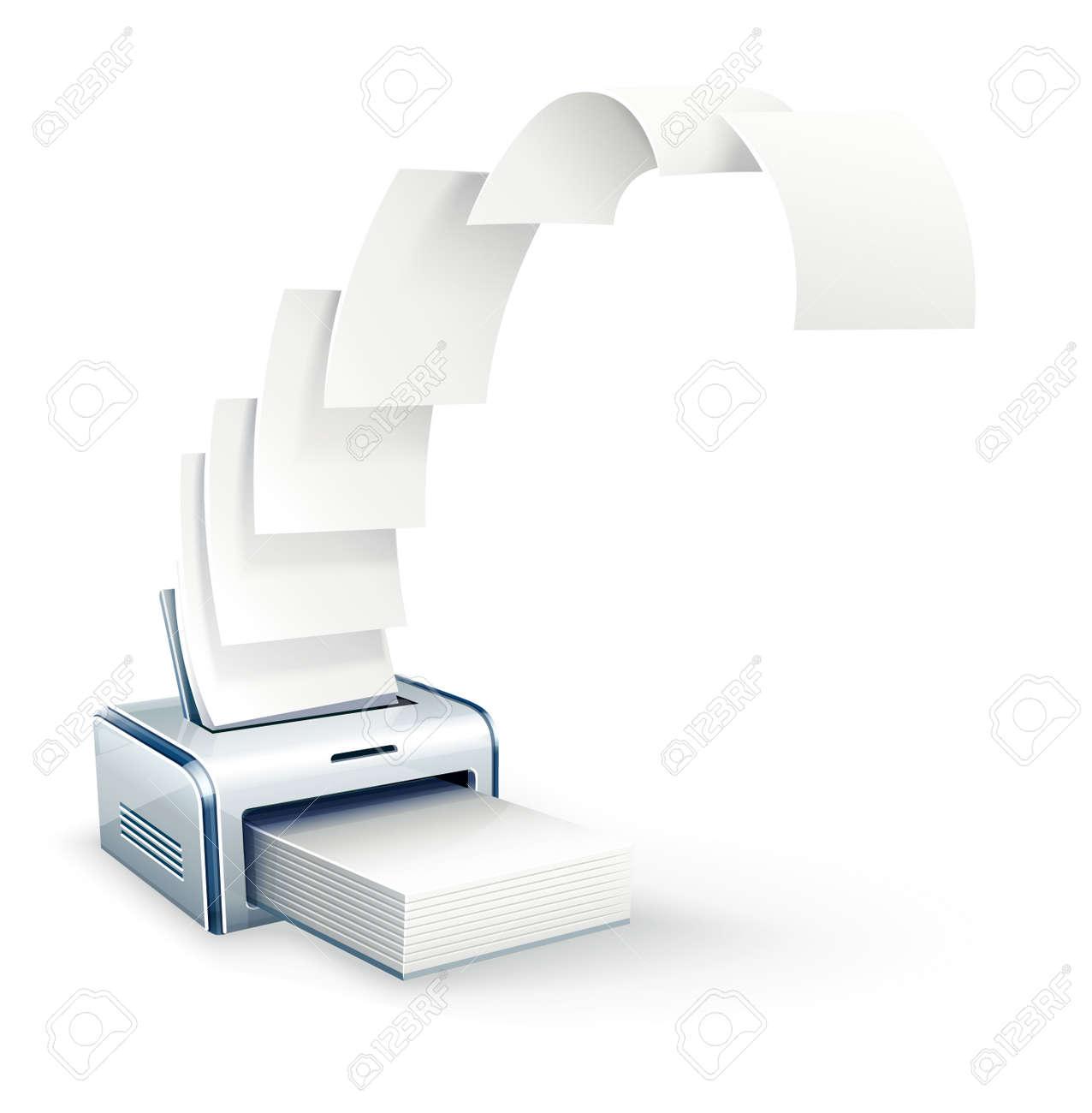 Printer printing copies to white paper - 54795610