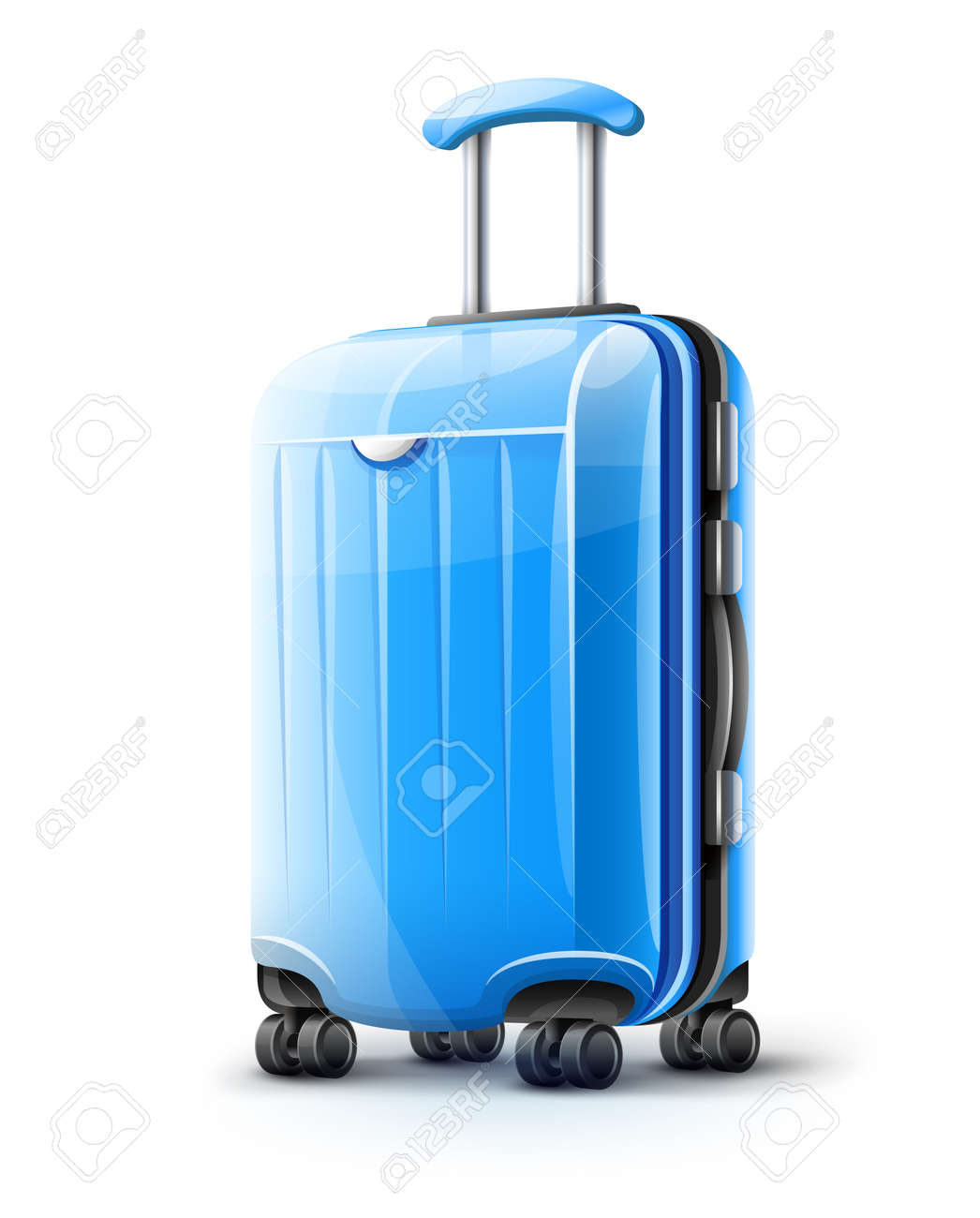 Blue modern suitcase for travel, case icon isolated on white transparent background. EPS10 vector illustration - 126239701