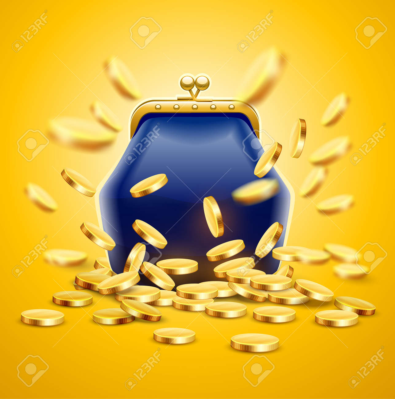 Classic vintage luxury purse with gold coins money crumbling and falling down. Jackpot concept vector illustration, - 154138151